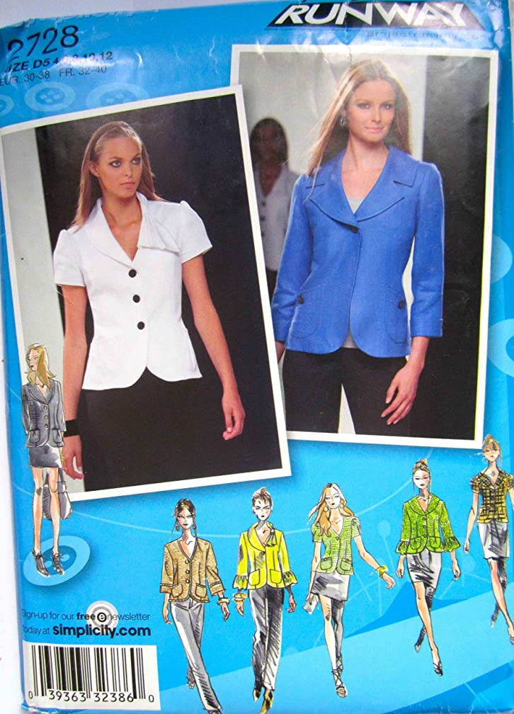 Simplicity Pattern 2728 Project Runway Misses Jacket with Collar and Sleeve Variations Size D5 (4-6-8-10-12)