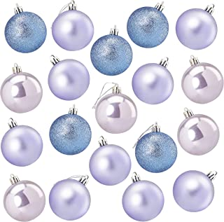 36-Pack Christmas Tree Ornaments - Light Purple Shatterproof Medium Christmas Balls Decoration, Assorted 3-Finish Pearly Luster, Matte, Glitter, Hanging Plastic Bauble Holiday Decor, 2.3 Inches