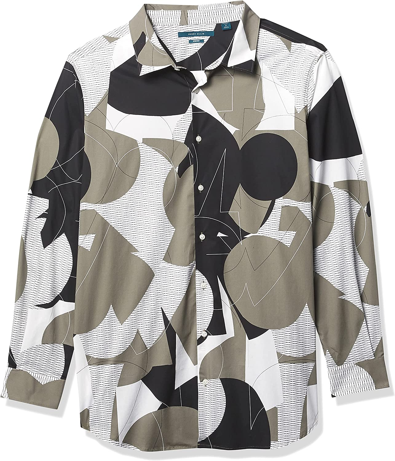 Perry Ellis Men's Big & Tall Slim Fit Abstract Grate Print Long Sleeve Stretch Button-Down Shirt