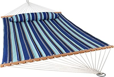 Logknot 14 FT Portable Hammock with Double Size UV Resistance Quick Dry Hammock with Solid Folding Curved Bamboo Spreader Bar Outdoor Patio Yard Beach Hammock 450 Lb Capacity Black