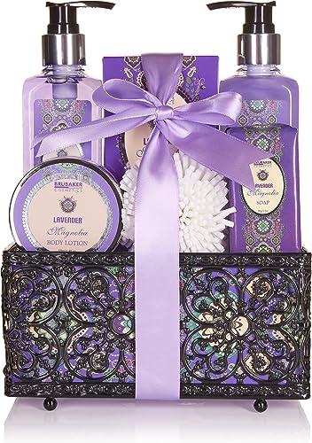 BRUBAKER Cosmetics - Coffret de bain & douche - Lavande/Magnolia - 7 Pièces - Panier décoratif - Idée cadeau