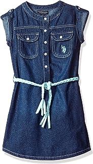 U.S. Polo Assn. Girls' Sandblast Denim Belted Dress