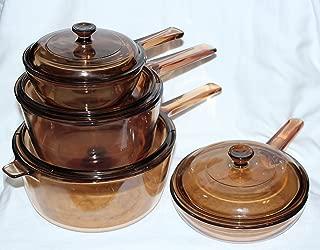 8 PIECE SET - Corning Visions Vision Ware Amber 2.5 Liter, 1.5 Liter, .5 Liter Sauce Pan Pot & 7 1/2 Inch Skillet Frying Pan w/ Lids