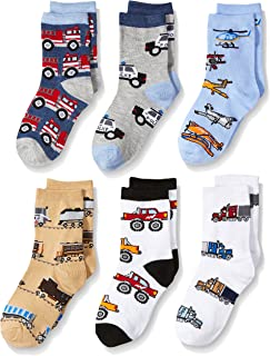 Boys' Little Trains/Trucks/Cars Pattern Crew Socks 6 Pack