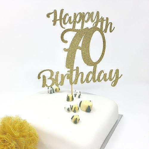 Happy 70th Birthday Cake Topper Gold Shinny Decoration