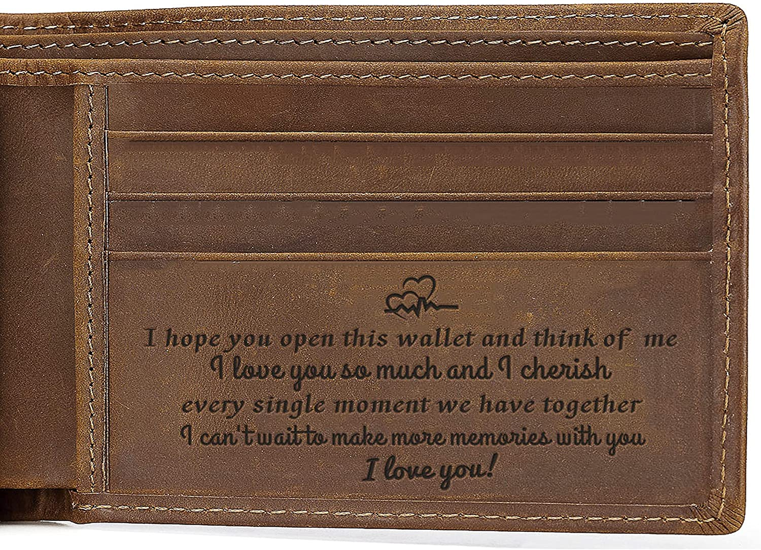 Personalized Genuine Leather Wallet for Husband Boyfriend Fiance, Engraved Trifold Wallet with Love Message, Birthday Fathers Day Valentines Christmas, Engraved Custom Gifts