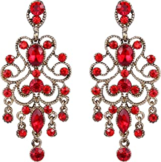BriLove Women's Vintaged Style Wedding Bridal Crystal Drop Hollow Chandelier Filigree Dangle Earrings
