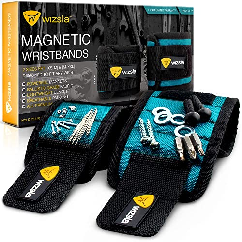 Wizsla Magnetic Wristband for Holding Screws, Tools, Set of 2 Sizes, Best Gift