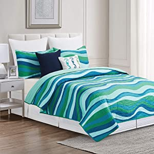 C&F Home Deep Blue Sea Waves Twin 2 Piece Quilt Set with 1 Sham All Season Reversible Lightweight Microfiber Summer Beach Ocean Coastal Bedspread Coverlet Twin 2 Piece Set Aqua