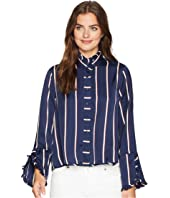 ROMEO & JULIET COUTURE High Neck Stripe Blouse