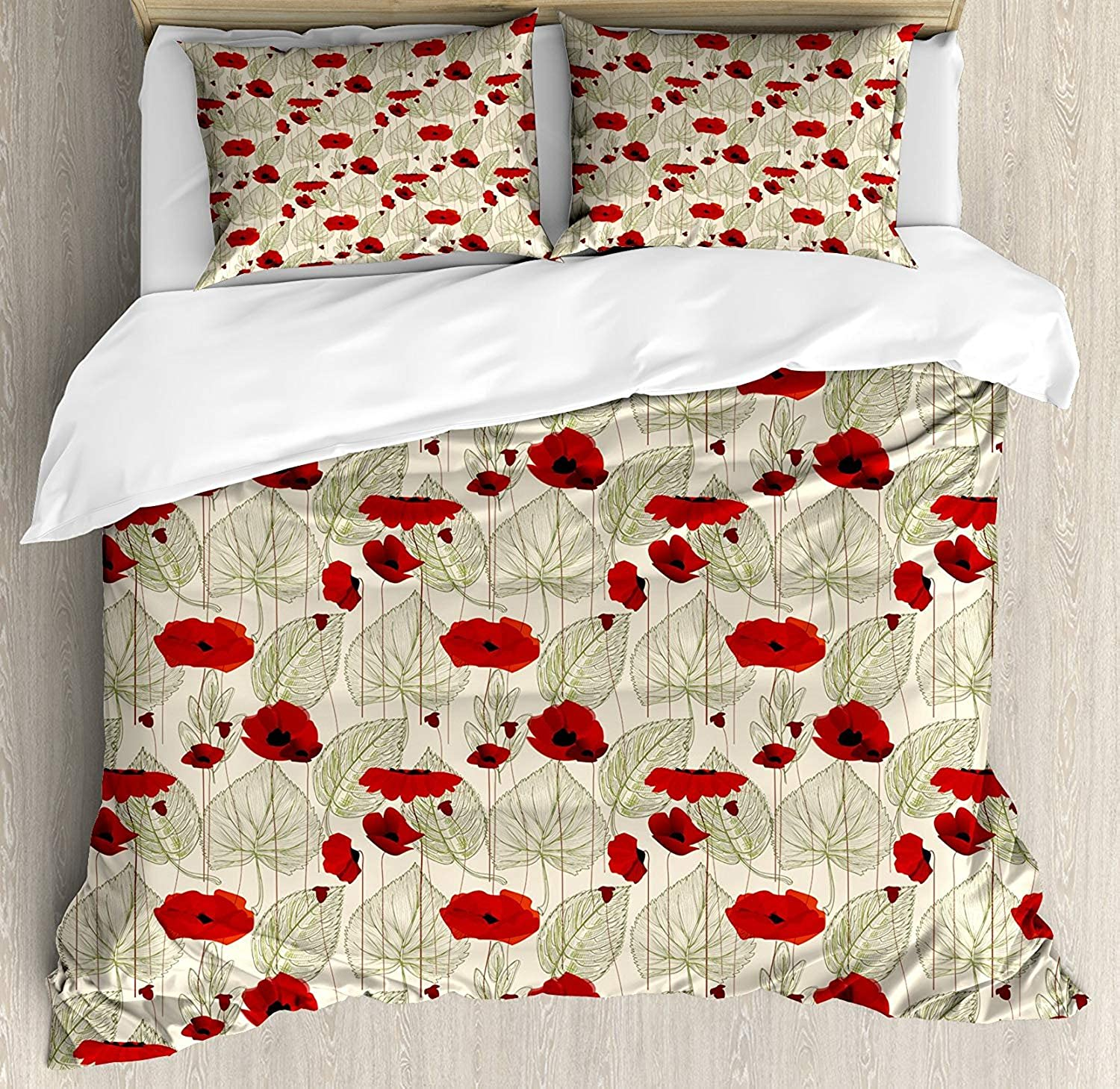 OxOHome Poppy Bedding SetsSketchy Tree Leaves Rural Floral Growth Botany Nature Inspired Art Duvet Cover Sets Scarlet Fern Green Beige Queen Bedding Comforter Cover Sets Soft Bedding Collections