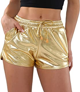POSHDIVAH Metallic Shorts for Women Hot Sparkly Shiny Shorts with Elastic Drawstring
