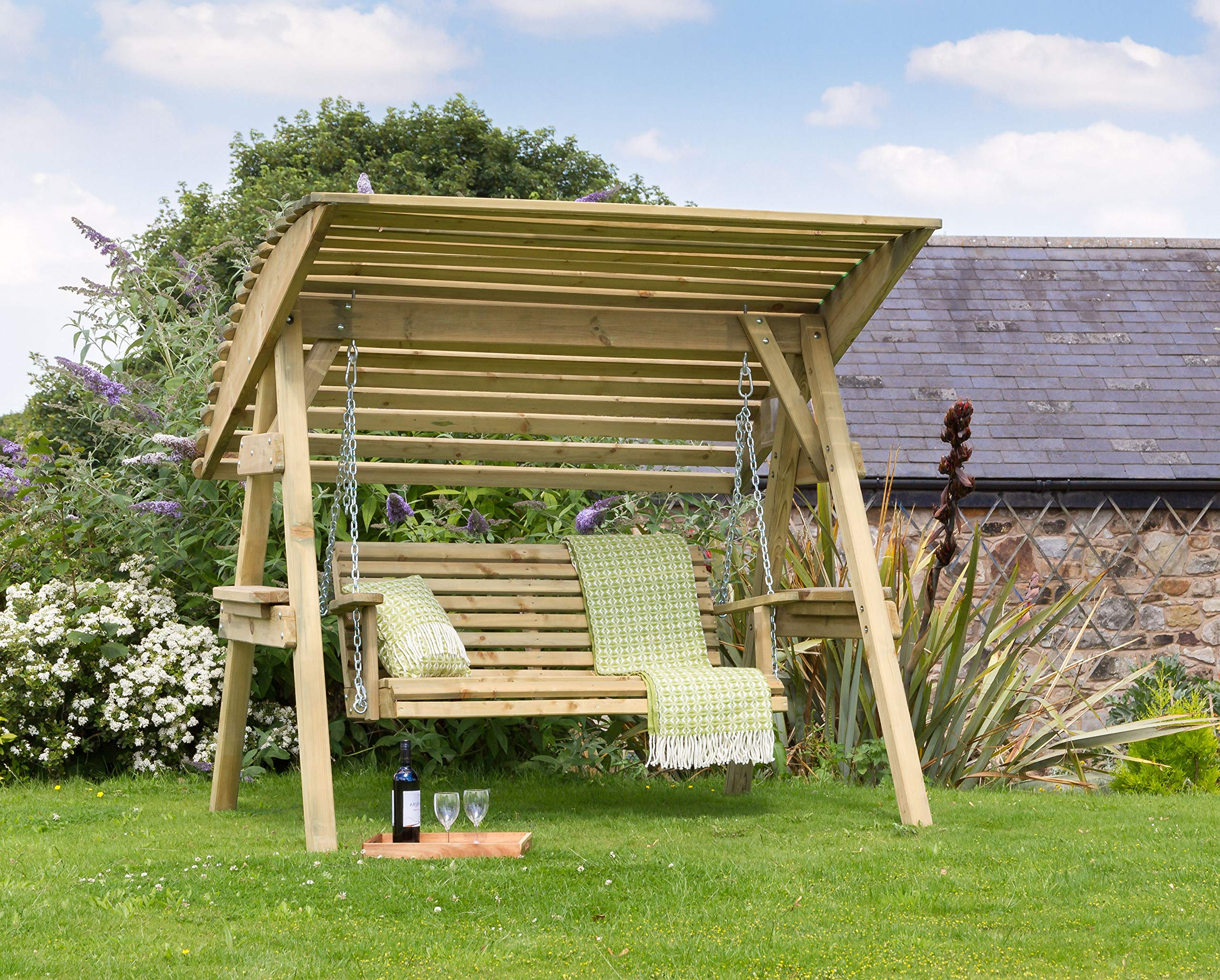 Parcel in the Attic - Avilés 8 Seat Wooden Garden Swing Chair with Canopy -  Hammock Bench Furniture Lounger - 8 year warranty against Rot