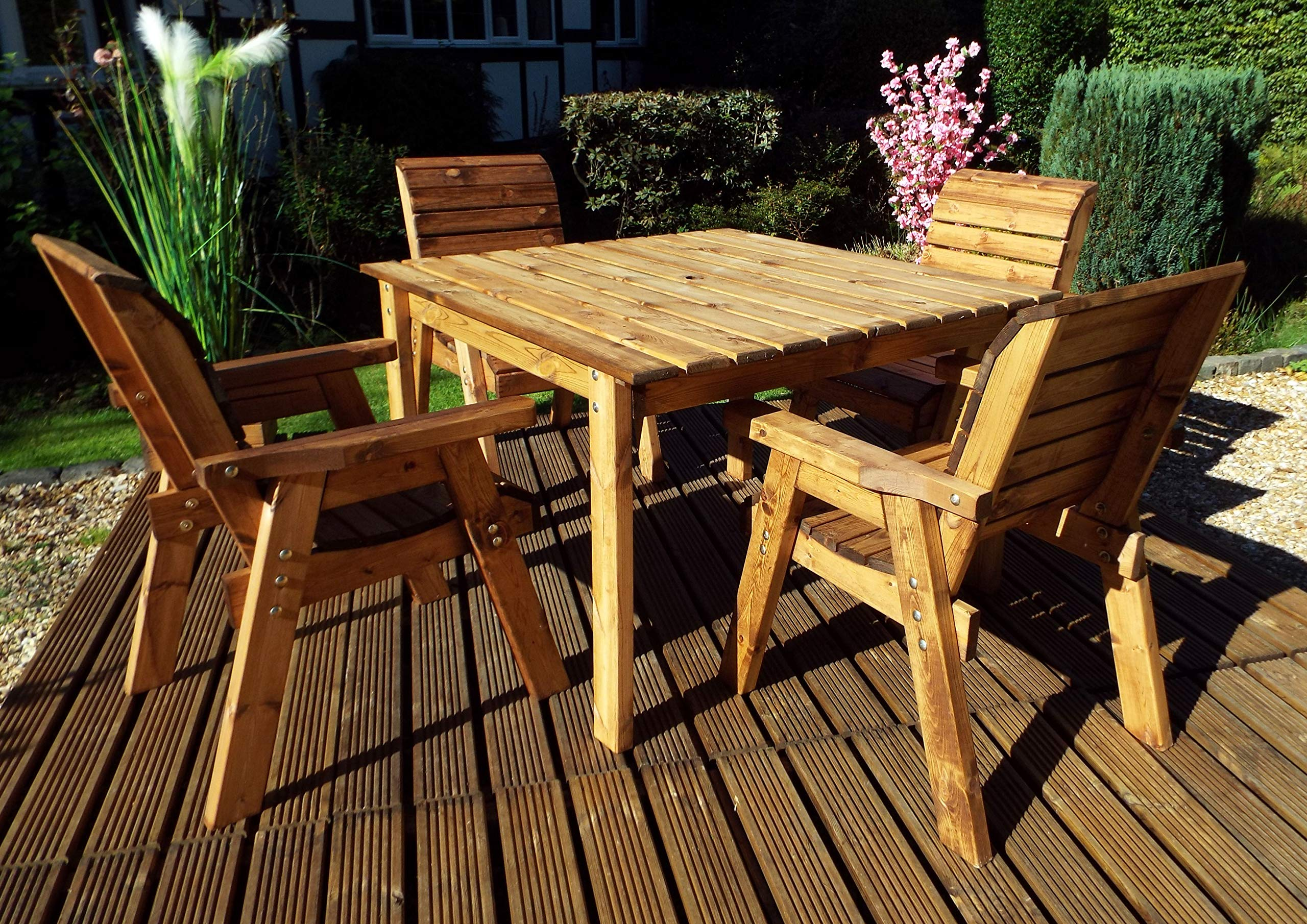 Charles Taylor Trading Hand Made Rustic Wooden Deluxe Garden Furniture 9  Seater Square Table Set
