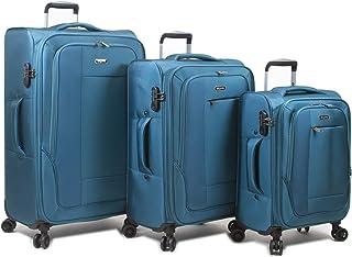 Dejuno Twilight New Generation Lightweight Nylon 3-Piece Spinner Luggage Set, Turquoise