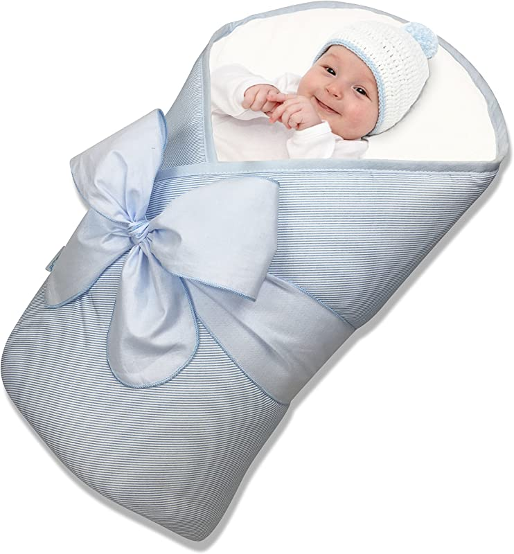 BundleBee Baby Wrap Swaddle Blanket Feather Light Blue 0 4 Months