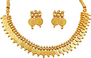 MEENAZ Gold Plated Traditional Temple Jewellery Set Laxmi Temple Coin Necklace with Earrings Set for Women Girls