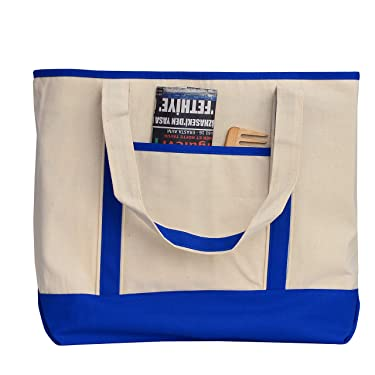 Heavy Canvas Two-Tone Boat Tote Bags with Front Pocket for Beach, Grocery Shopping, Travel by TBF Bags (Set of 2) (Royal, Large)