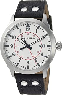 Philip Stein Men's Sky Finder Stainless Steel Japanese-Quartz Watch with Leather Strap, Black, 21 (Model: 700-PLTWH-CSRB)