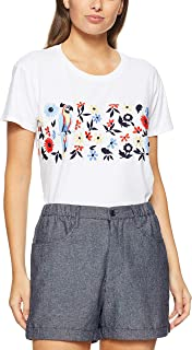 French Connection Women's Embriodered Flower TEE, Summer White/Multi