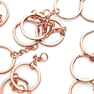 10 Pieces - 16K Rose Gold Plated Keychain Ring With Extender Chain Keychain Supply Wholesale Jewelry Bulk Discount Keychain Findings - 10PKC (Rose Gold)