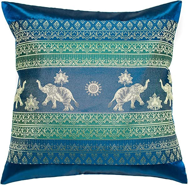 Avarada 16x16 Inch 40x40 Cm Print Elephant Sun Decorative Throw Pillow Case Cushion Cover For Sofa Couch Chair Bed Insert Not Included Zipper Blue Green