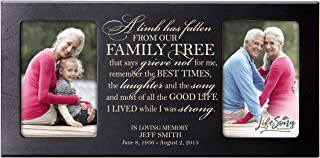 LifeSong Milestones Personalized Memorial Sympathy Picture Frame, A Limb Has Fallen from Our Family Tree That Says Grieve Not for Me, Custom Frame Holds Two 4x6 Photos, Made in USA (Black)