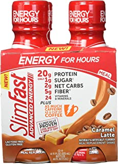 SlimFast Advanced Energy Caramel Latte Shake – Ready to Drink Meal Replacement – 20g of Protein, 11 fl oz. Bottle – 12Count