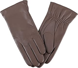 Women Full-Hand Touchscreen Warm Cashmere Lined Leather Winter Gloves SG Fashion