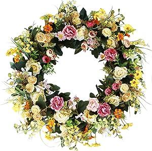 """Emlyn Delicaft 18"""" Silk French Window Wreath French Sash Wreath for Spring Summer & Fall Wall Décor"""