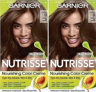 Garnier Hair Color Nutrisse Nourishing Creme, 51 Medium Ash Brown (Cool Tea), 2 Count