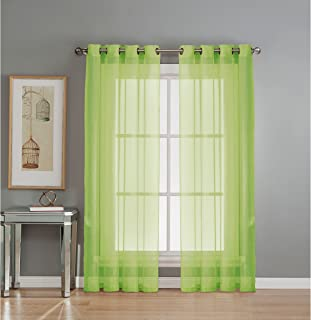 Window Elements Diamond Sheer Voile Extra Wide 56 x 84 in. Grommet Curtain Panel, Lime