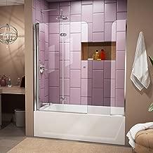 DreamLine Aqua Fold 56-60 in. W x 58 in. H Frameless Bi-Fold Tub Door with Extender Panel in Chrome, SHDR-3636580-EX-01