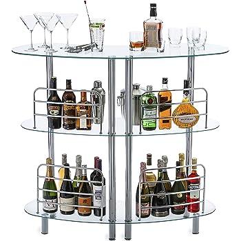Mango Steam Contemporary Modern Home Liquor Bar Catalina Table Tempered Glass