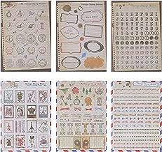 Kesote 6 Hojas de Pegatina de Sello Vintage Pegatinas de Colores para Hágalo Usted Mismo, álbum de Recortes, álbum, Diario de Viaje