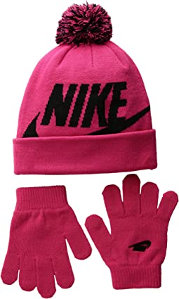 Nike Kids - Swoosh Pom Beanie Gloves Set (Little Kids/Big Kids)