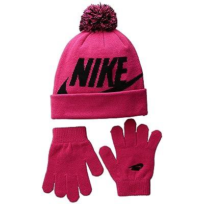 Nike Kids Swoosh Pom Beanie Gloves Set (Little Kids/Big Kids) (Rush Pink) Beanies