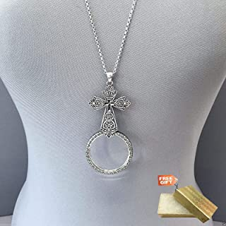 Antique Silver Chain Magnifying Glass Cross Pendant Necklace Set For Women + Gold Cotton Filled Gift Box for Free