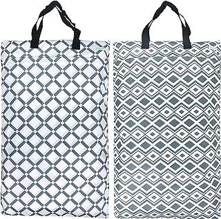 Wegreeco Reusable Hanging Wet Dry Cloth Diaper Bag (2 PACK, Grey Diamond)