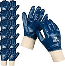 ACKTRA Nitrile Fully Coated Cotton WORK GLOVES 12 Pairs, Oil Acid Alkali Resistant (Safety Cuff)
