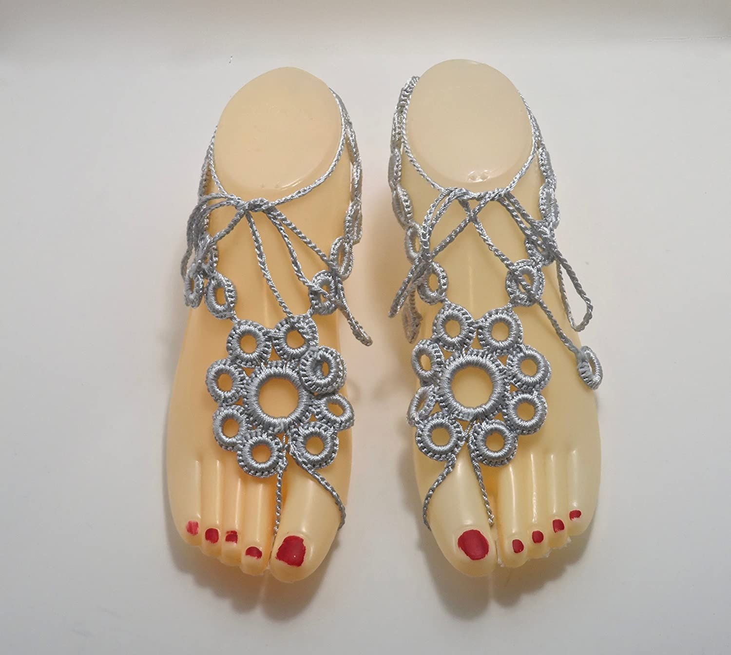 Deluxe Handmade Max 43% OFF Silver Bare-Foot Sandals Beach