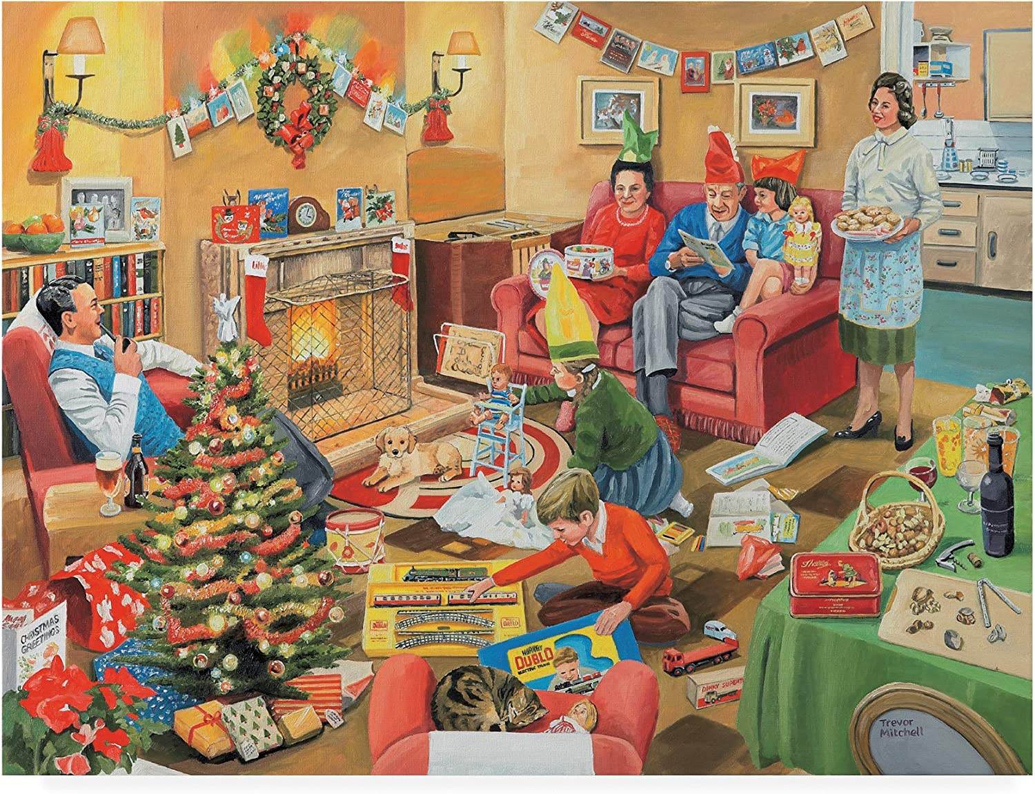 Trademark Fine Art ALI45991C1419GG A 50S Family Christmas by Trevor Mitchell, 14x19