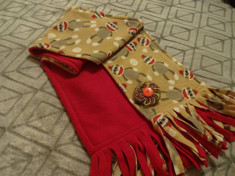 SOCK MONKEY w RED quality Popular standard assurance Double Sided Fleece Scarf Handmade with Handma