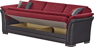 BEYAN Austin Collection Upholstered Chenille Sofa Bed with Solid Wood Frame, Vinyl Arms, and Storage, Red