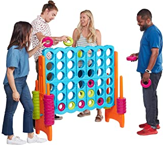 ECR4Kids Jumbo 4-to-Score Giant Game Set, Backyard Games for Kids, Jumbo Connect-All-4 Game Set, Indoor or Outdoor Game, Adult and Family Fun Game, Easy to Transport, 4 Feet Tall, Vibrant
