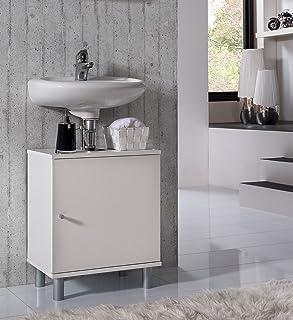 VCM Bad Unterschrank Waschtisch Waschbecken Badschrank Regal Wento 55x45x32 Badezimmer Schrank Weiss