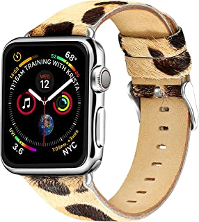 Compatible with Iwatch Band 38mm 40mm,Pony Hair Leopard Pattern Apple Watch Band Leather Replacement Iwatch Band Women Compatible Apple Watch Series 4 Series3 Series2 Series1(38mm 40mm)