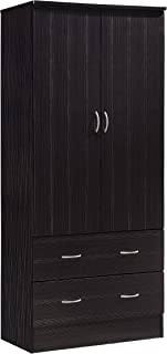 Hodedah Two Door Wardrobe, with Two Drawers, and Hanging Rod, Chocolate