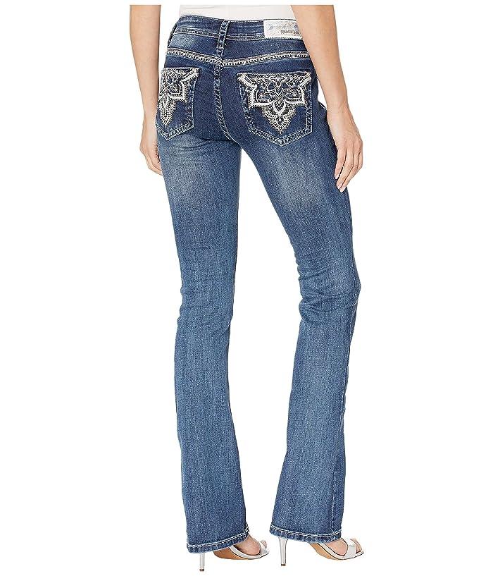 Grace in LA Flower Baroque Jeans in Medium Blue (Medium Blue) Women's Jeans
