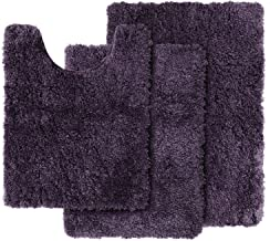 Clara Clark Shaggy Bath Rug with Non-Slip Backing Rubber Super Soft Bathmat, Eggplant, 3 Piece Set